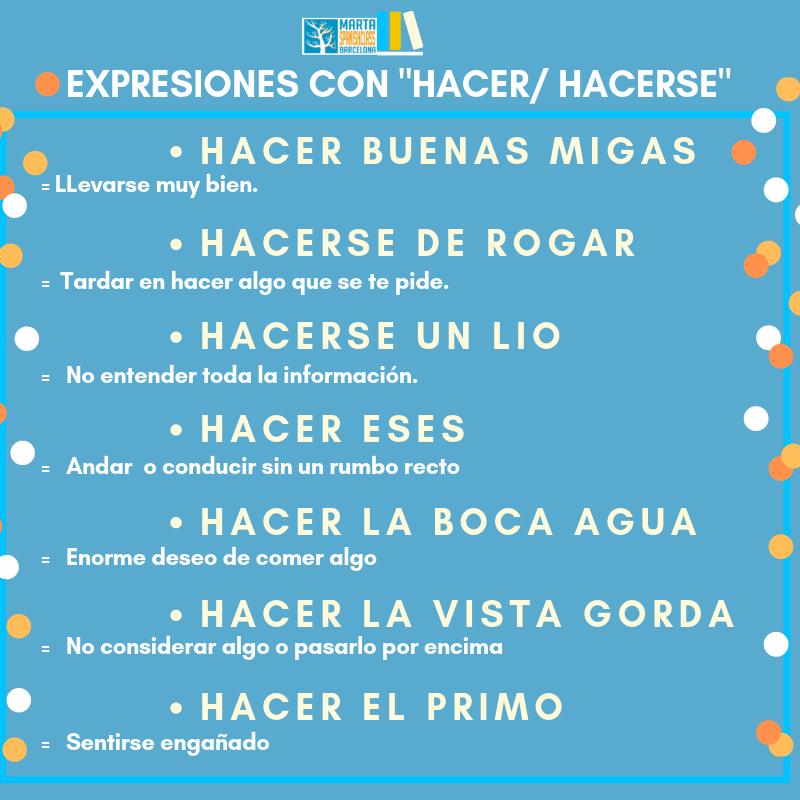 Expresiones-con-HACER Verbos polisémicos en español: llevar, tirar, tomar, dar...