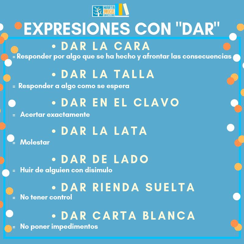 Expresiones-con-dar Verbos polisémicos en español: llevar, tirar, tomar, dar...