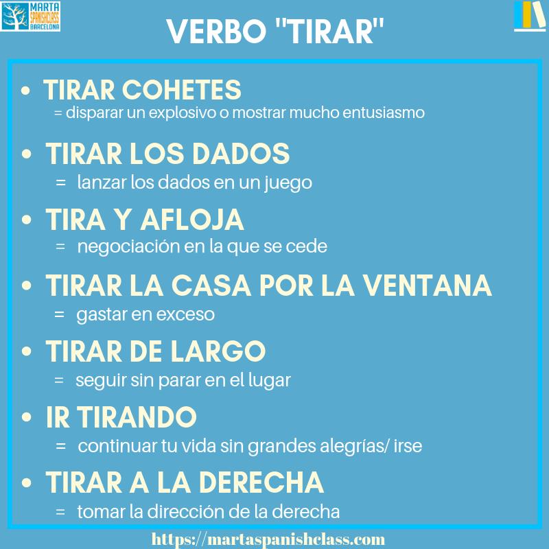Expresiones-con-tirar Verbos polisémicos en español: llevar, tirar, tomar, dar...