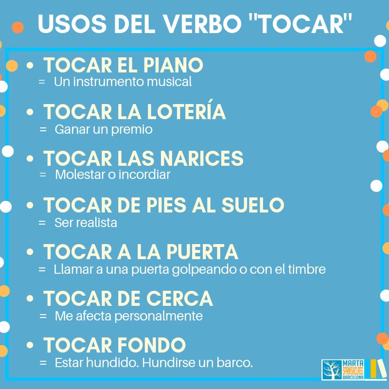 Expresiones-con-tocar Verbos polisémicos en español: llevar, tirar, tomar, dar...