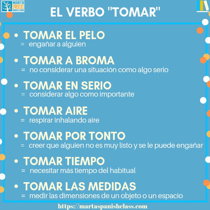 Expresiones-con-tomar Verbos polisémicos en español: llevar, tirar, tomar, dar...